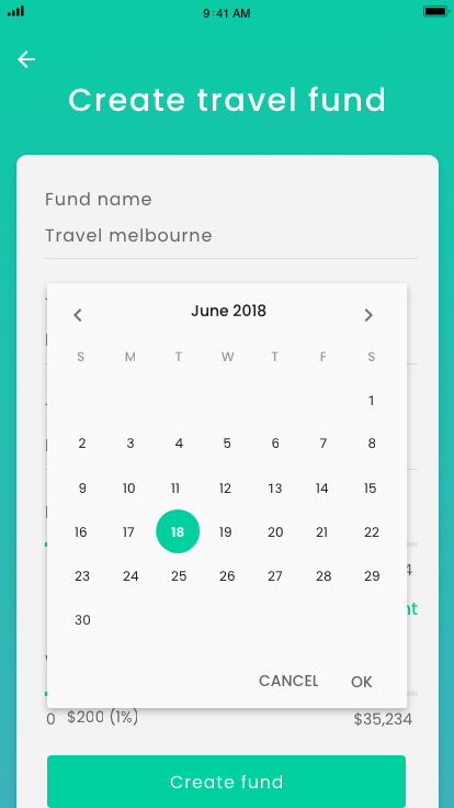 Animation - Create fund - Date picker – 1
